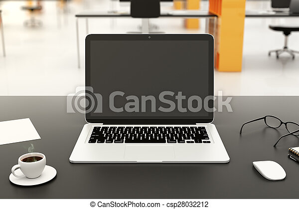 Blank laptop on a modern workplace - csp28032212