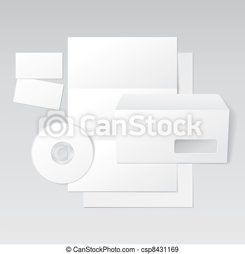 blank letter envelope business cards and cd template vector