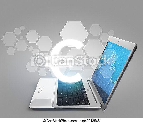 blank lichten door, draagbare computer - csp40913565