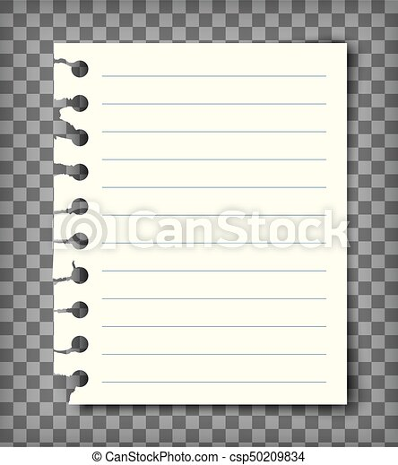 Blank lined note book page with torn edge. notepaper mockup. graphic ...
