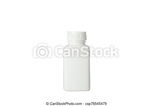 Blank medical container for pills isolated on white background - csp76545479