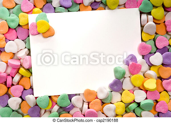 Blank note card surrounded, framed by candy hearts - csp2190188