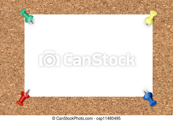 Blank note paper on cork board - csp11480495