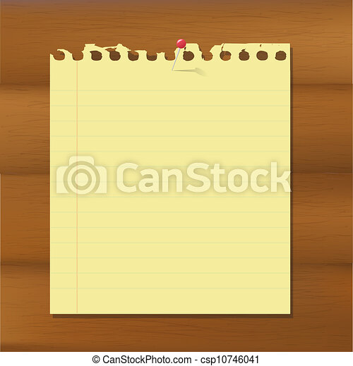 Blank Note Paper On Wooden Brown Background - csp10746041