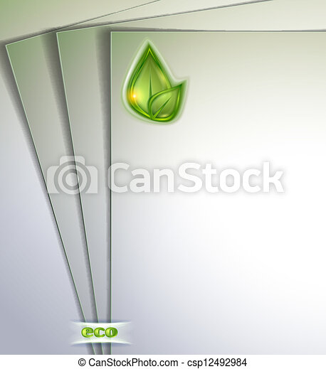 Blank Note Paper With Green Leaf - csp12492984