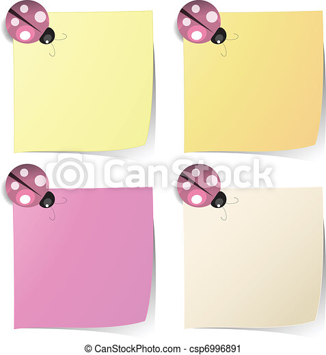blank note paper with ladybug magnet - csp6996891