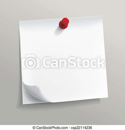 blank note paper with pin  - csp22114236