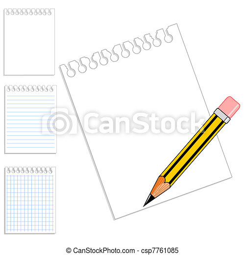 selection of blank notebook paper pencil with copy space