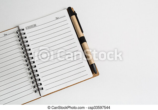 blank notebook with pen and pencil  - csp33597544