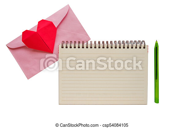 Blank Notebook With Pink Envelope And Red Heart Paper Origami On