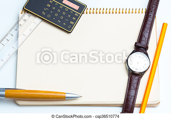 blank notepad for Todo list with pen and clock - csp36510774