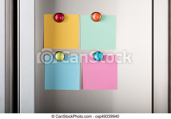 Blank Notes Attached With Colorful Magnetic Thumbtacks - csp49339940