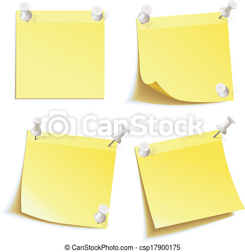 Blank notes pinned on corkboard - csp17900175