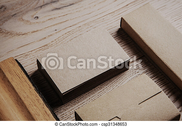 Blank office elements on the wooden background. - csp31348653