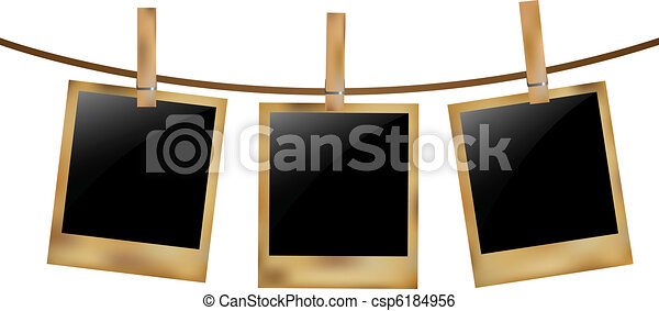 Blank Old Photos On Rope - csp6184956