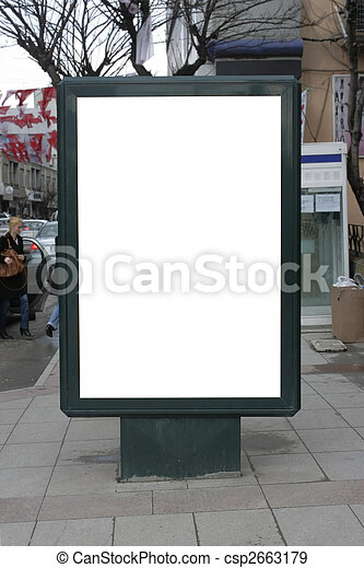 Blank One Vertical Poster Billboard - Including clipping path - csp2663179