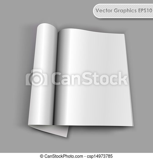 Blank opened magazine with rolled page vector template. - csp14973785