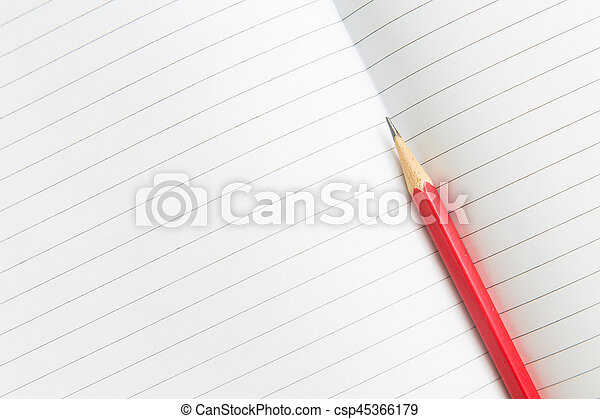 Blank opened notebook with pencil - csp45366179