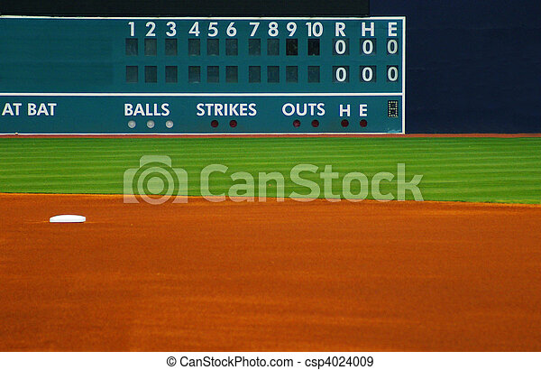 blank outfield baseball scoreboard, with field in foreground - csp4024009