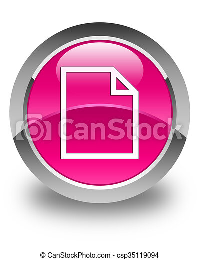 Blank page icon glossy pink round button - csp35119094