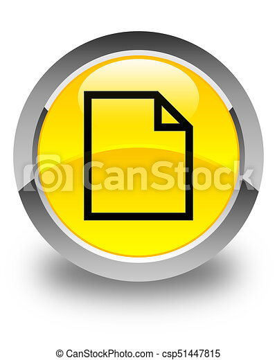 Blank page icon glossy yellow round button - csp51447815