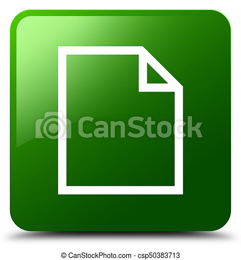 Blank page icon green square button - csp50383713