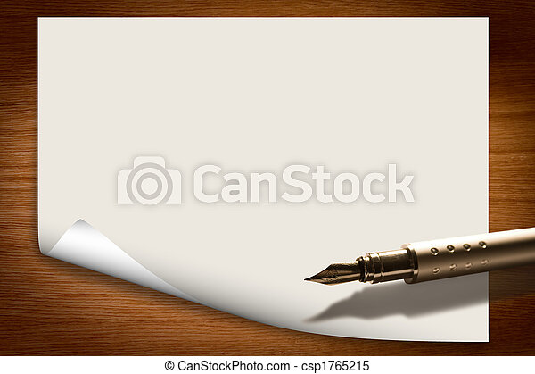 Blank Paper Background With Pen Stock Photo  Blank Paper Background