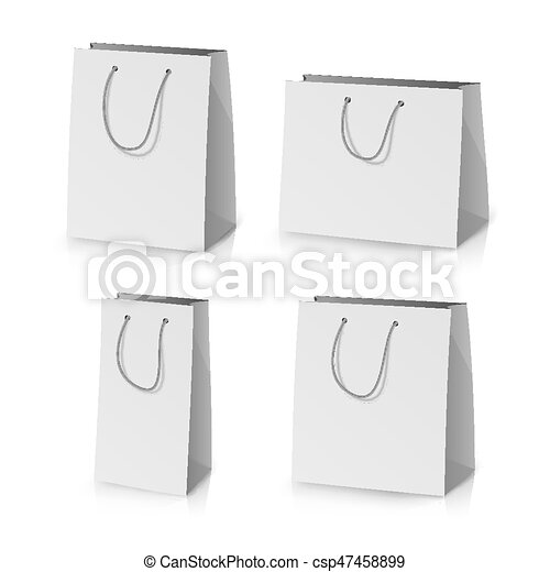 Blank paper bag template vector. realistic gift bag illustration ...