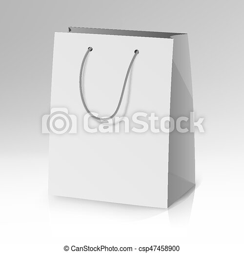 Blank paper bag template vector. realistic shopping pocket bag ...