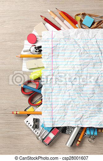 Blank paper on lots of office supplies - csp28001607