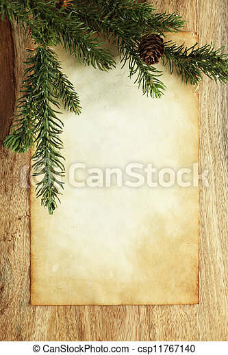 Blank paper with Christmas decorations - csp11767140