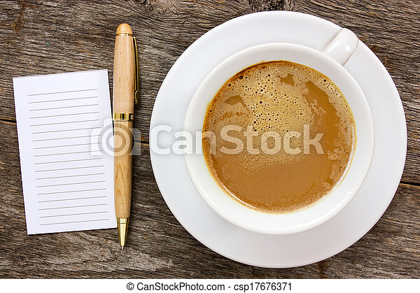 Blank paper with hot coffee cup - csp17676371