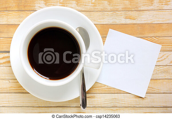 Blank paper with hot coffee cup - csp14235063