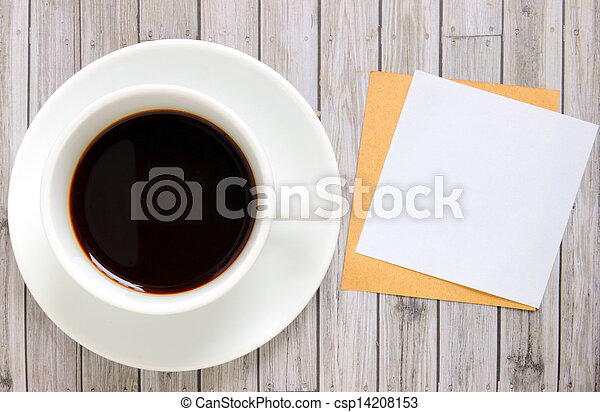 Blank paper with hot coffee cup - csp14208153