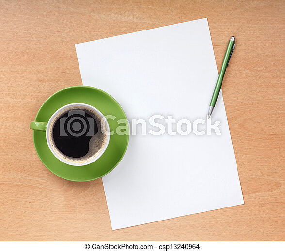 Blank paper with pen and coffee cup - csp13240964