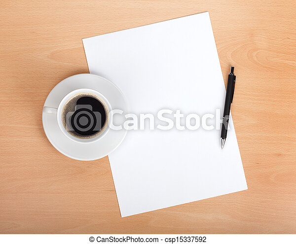 Blank paper with pen and coffee cup - csp15337592