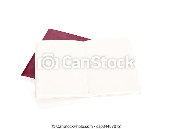Blank passport  isolated on white background - csp34487072