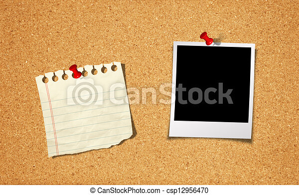 Blank Photo and Notepad with push pin on cork board background - csp12956470