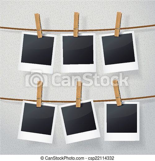 blank photo frames on rope - csp22114332