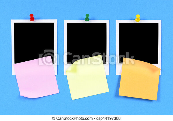 Blank photo prints with sticky notes (XL) - csp44197388
