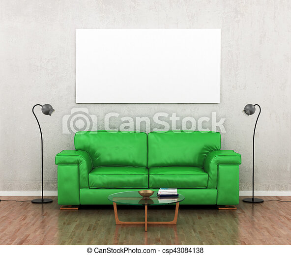 Blank Picture On The Grey Wall Near The Green Sofa. The Loft Style. 3d  Illustration
