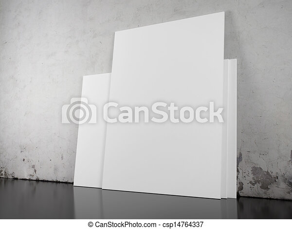 blank picture over concrete wall - csp14764337
