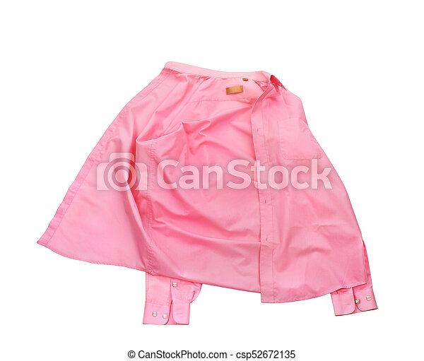 Blank pink shirt isolated on white background - csp52672135