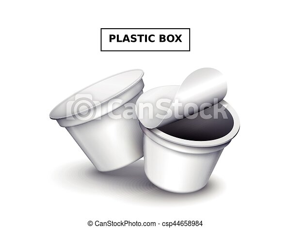 Blank Plastic Box Mockup Two White Food Container Template For