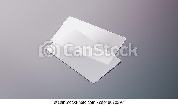 Blank Plastic Transparent Business Cards Mock Up 3d Rendering