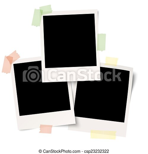 Blank polaroids with adhesive tape - csp23232322