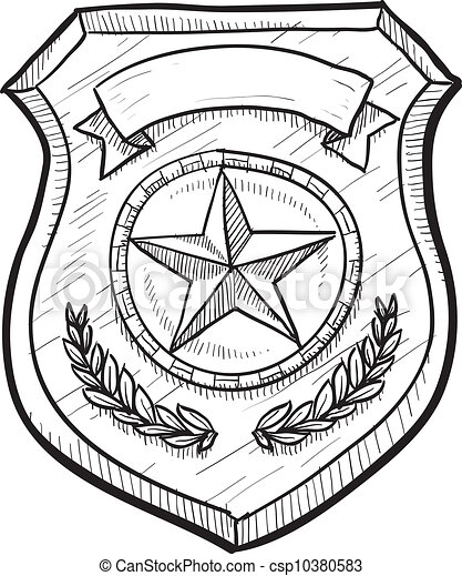 Blank police or firefighter's badge - csp10380583