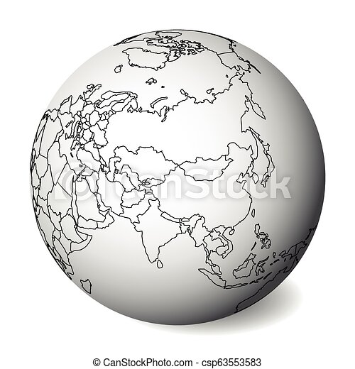 Blank Political Map Of Asia 3d Earth Globe With Black Outline Map