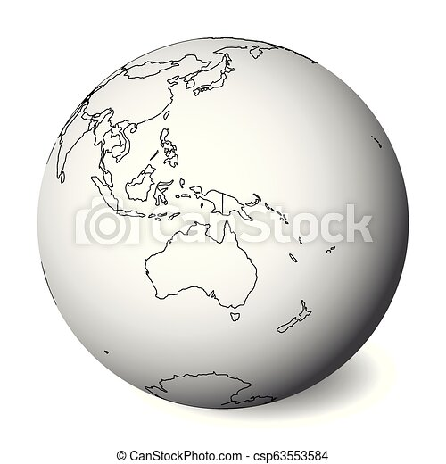 Australia Map Globe.Blank Political Map Of Australia 3d Earth Globe With Black Outline Map Vector Illustration