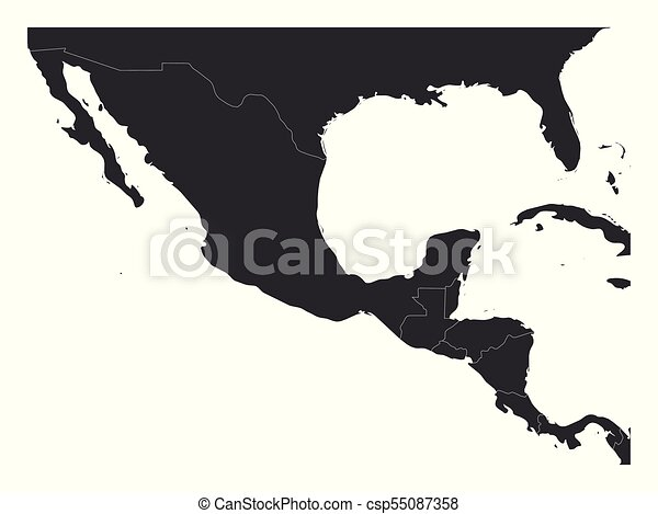 Blank political map of Central America and Mexico. Simple dark grey vector  illustration